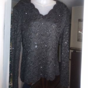 Laurence Kazar New York Black Lace Sequined Top
